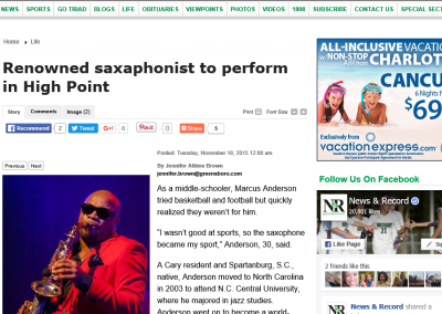 Renowned saxaphonist to perform in High Point