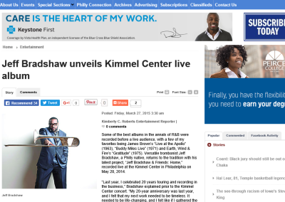 Jeff Bradshaw unveils Kimmel Center live album
