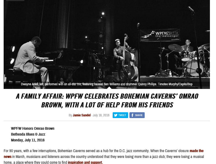 [CapitalBop Recap] A family affair: WPFW celebrates Bohemian Caverns' Omrao Brown, with a lot of help from his friends